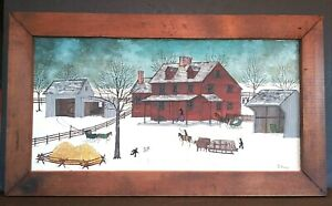 Dolores Hackenberger Original Oil Painting Amish Sleigh Horse Buggy Snow Barn