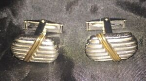 Art Deco D&B Sterling Silver & 14K Yellow Gold Classic Cufflinks 15.4 grams