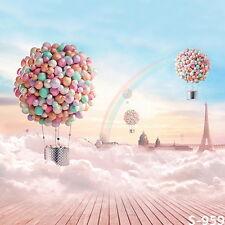 10x10FT Rainbow Sky Balloons House City Custom Photo Studio Background Backdrop