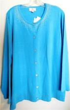 NWT Quacker Factory Cardigan Sweater~1X~Rhinestone Buttons~Turquoise~L/S~NEW!