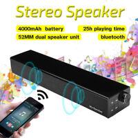 Wireless bluetooth Speaker Soundbar Stereo Bass Subwoofer For Computer PC  *
