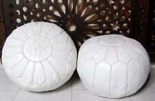 Set of 2 Moroccan Genuine Leather Boho Pouf Ottoman Footstool Pouffe white