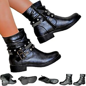 Womens Black Slouch Chunky Biker Boots Studded Low Heel Zip Up Warm Lining Size