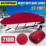17-19ft 210D Heavy Duty Boat Speedboat Cover Waterproof Fishing Ski V-Hull Red