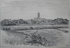 """ANTIQUE ENGRAVING PRINT """"VIEW OF WARWICK"""" ENGLAND C 1886 A"""