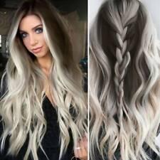 Дамские, женские длинные волнистые оттененный блондинка парики натуральный толстый полный кудрявые волосы парик