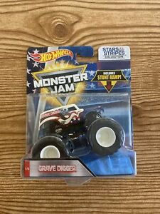 Hot Wheels Monster Jam Grave Digger Stars & Stripes USA American Flag With Ramp