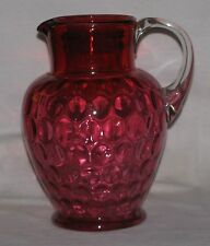 Cranberry Glass Pitcher - Optic ThumbPrint Pattern - Hand Made