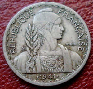 1941-S FRENCH INDOCHINA 20 CENTS IN FINE-VF CONDITION