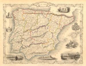 SPAIN & PORTUGAL. Madrid Lisbon Gibraltar views. Iberia TALLIS & RAPKIN 1851 map