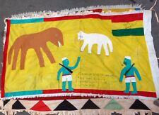 AFRICAN FANTI FLAG TEXTILE ASAFO ARMY GUNS ELEPHANT DOGS ANIMALS MOTIF GHANA