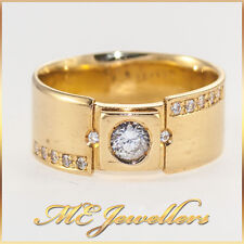 Solid 18k 18kt 18ct Yellow Gold Diamond Ring Mens Unisex 0.40ct Natural Diamonds