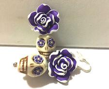 Skull Earrings. Rockabilly Purple & White Sugar