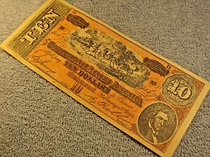 1864 $10 TWENTY DOLLARS CSA CONFEDERATE STATES OF AMERICA NOTE REPRODUCTION