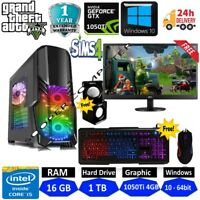 Fast Gaming PC Computer Bundle Intel Quad Core i5 16GB 1TB Win10 4GB GTX 1050Ti
