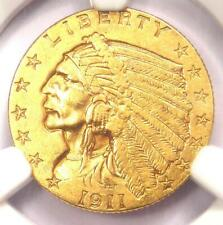 1911-D Indian Gold Quarter Eagle $2.50 Coin (Strong D) - NGC AU Details!