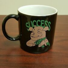 GE Information Services Money Hungry Success Pink Pig Black Coffee Mug