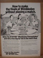 1985 WYNY Radio for Finals Tennis Wimbledon Vintage Print Ad 125