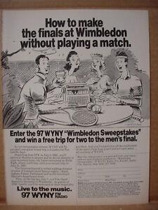 1985 WYNY Radio for Finals Tennis Wimbledon Vintage Print Ad 125