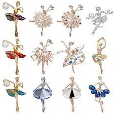 Fashion Rhinestone Ballet Gymnastics Girl Brooch Pin Womens Jewellery Party Gift