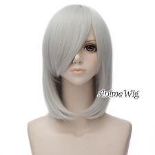 45CM Lolita Anime Basic Silver Wavy Halloween Heat Resistant Cosplay Wig+Cap