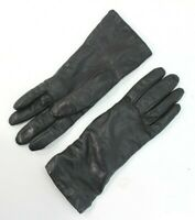 "LL Bean Black Leather Driving Gloves Soft Wool Cashmere-Lined 10"" L Womens Small"