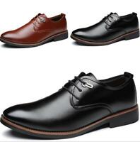 Mens Dress Formal Shoes British Flats Lace up Business Soft Non-slip Leisure New