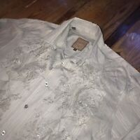 Roar Mens Gray Embroidered Mens 2XL XXL Distressed Button Down Up Shirt Paisley
