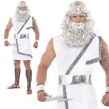 Zeus Costume Ancient Greek Roman Toga God Myth Mens Fancy Dress Outfit New