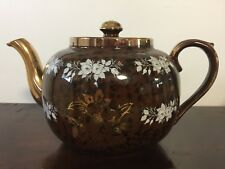 VTG Gibson's Staffordshire England Teapot, Brown with Gold Trim, white roses