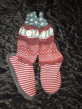 MUK LUKS KNIT SWEATER SHOE BOOTS SLIPPERS RED BLUE SIZE LARGE 9-10