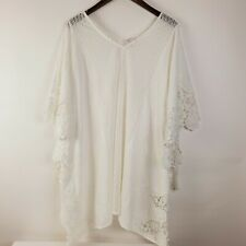 Merona White Women's Embroidered Lace Swim Cover Up Medium EUC Knee Length