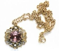 Pendant Necklace - Flower - Filigree - Purple Rhinestone - Faux Pearls Gold Tone