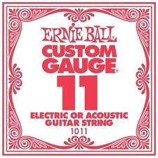 Ernie Ball .011 Custom Gauge Guitar Single Strings Electric or Acoustic Pack 6