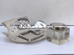 Vintage Art Nouveau Inkwell and Stand, Silver Plated - German Patented