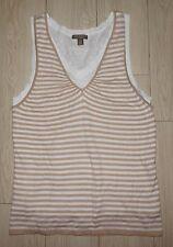 Women's BAY STUDIO KHAKIS Tank Top Sleeveless Shirt Knit Lined Striped L Large