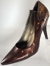 ANDIAMO Brown / Copper Metal Flake Pointy Toe Animal Print Heels Shoes Size 8.5