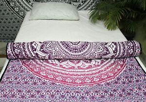 100%Cotton Handmade Indian Mandala Ethnic Winter Reversible Quilt Razai Coverlet