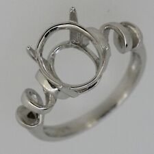 Sterling Silver Semi Mount Ring Setting Oval OV 11x9mm Size 7