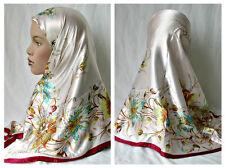 Ivory Turkish Floral Fashion Scarf Abaya Square 35x35 Hjiab Springtime Scarf