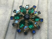 Starburst Brooch Gold Tone Green Glass Rhinestone Pin Vintage Costume Jewellery