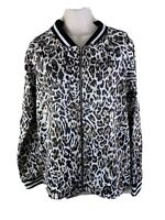 Ecowish Leopard Animal Print Lightweight Bomber Jacket Coat Sz L NWT NEW