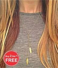 Women Boho Jewelry Choker Chunky Statement  Leaves Pendant Chain Necklace Gold