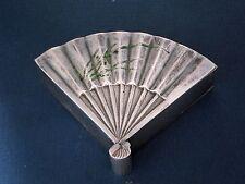 Antique Japanese Silver & Enamel Snuff Fan Shaped Box Signed