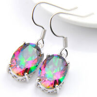Shine Oval Style Rainbow Mystical Fire Topaz Gemstone Woman Dangle Hook Earrings