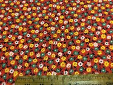 Vintage Cotton Fabric 40s50s SWEET Lil Green Yellow Daisies Floral 35w 1yd