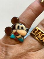 Zunitoons Mickey Mouse Ring Dead Pawn Sterling Silver 4 3/4. Turquoise Onyx vtg