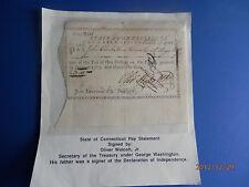 Revolutionary war Pay Statement Oliver Wolcott Jr. Secretary of Treasury signed