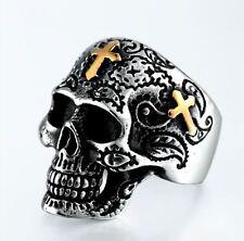 Men Stainless Steel Silver Gold Skull Cross Gothic Biker Motorcycle Ring Size 14