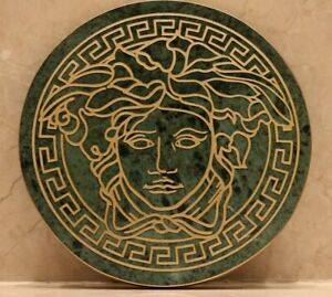 versace logo Rounded green Marble Stone Serving Cutting Platter Cheese Cake